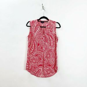 The Limited Red White Paisley Sleeveless Blouse